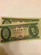 10 forint 1969 2 db nagyon szep!!! Nem hajtott!!