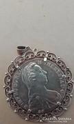 Mária Terézia medál,ezüst foglalatban(aranyozott)
