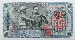 Észak-Korea 5 Won  1947 UNC