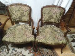 Chippendél barokk 2 darab goblein mintás karosszék