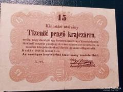 15 Pengő Krajczárra 1849  Bomba jó áron!