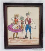 Magyar népviselet régi festett textil kép