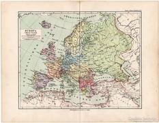 Európa térkép 1892, eredeti, német nyelvű, régi
