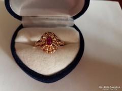 14K arany gyűrű rubinnal - gyönyörű!