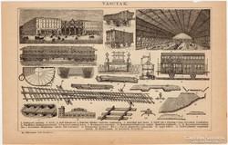 Vasutak és bányászat, egyszín nyomat 1892, eredeti