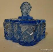 Kék, cseh üveg bonbonier/cukortartó