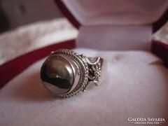 Arany -pirit antik ezüst gyűrű - 1,6 cm belső átmérő