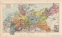 Poroszország térkép 1892, eredeti, német, régi