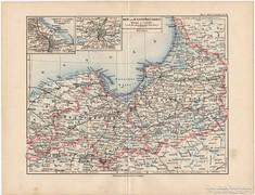 Kelet- és Nyugat - Poroszország térkép 1892, eredeti, német