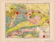 Németország geológiai térkép 1892, eredeti, német, régi