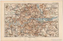 London és környéke térkép 1892, eredeti, német, régi