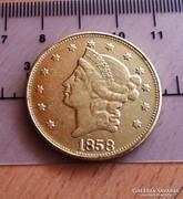 SZÉP  ARANY 20 DOLLAR MÁSOLAT  U. P. 1858