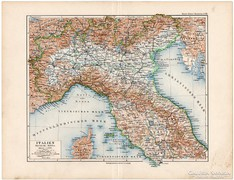 Észak - Olaszország térkép 1892, eredeti, német, régi