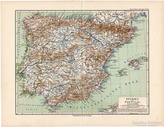 Spanyolország és Portugália térkép 1892, eredeti, német