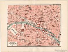Párizs térkép, belváros 1892, eredeti, német, régi