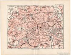 London térkép 1892, eredeti, német, régi