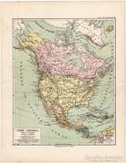 Észak - Amerika térkép 1892, eredeti, német, régi
