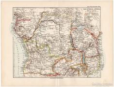 Egyenlítői (Közép) - Afrika  térkép 1892, eredeti, német