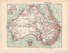 Ausztrália térkép 1892, német, eredeti, régi