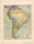 Dél - Amerika térkép 1892, német, eredeti, régi