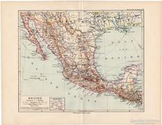 Mexikó térkép 1892, német nyelvű, eredeti, régi