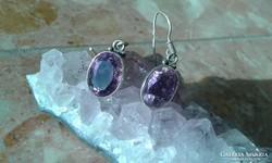Ametiszt ezüst fülbevaló (orgona lila)