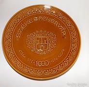 Antik Gránit fali tányér Székesfehérvár felirat