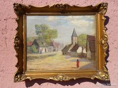 Kőrössy Lajos festmény Falusi életkép