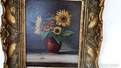 E. Kröll aláírással, antik festmény, antik keretben!!!!!