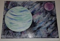 Bolygók, farostra festett akril kép