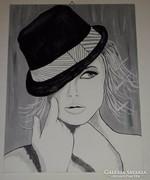 Merengés, kalapban, akrillal festett kép