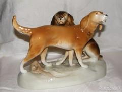 Kutyapár nagyméretű Royal Dux porcelán