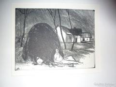 Novák Lajos: Pihenő, rézkarc, hátoldalon felirat