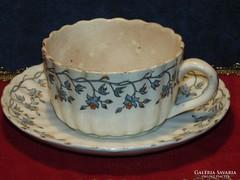 Antik fajansz csésze+alj 1