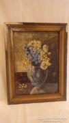 Régi akvarell virágcsendélet festmény