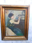 Antik szignózott festmény az 1930-as évekből.
