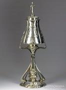 K022 Talpas ezüstözött ón serleg 48 cm