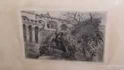 Scultéty Éva - Szentgyörgy szobor rézkarc
