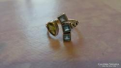 Peridot és akvamarin köves 925 gyűrű