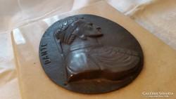 Márvány talpon bronz fali kép Dante