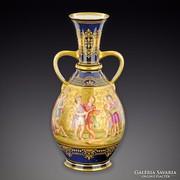 Antik aranyozott, jelzett porcelán váza eladó!