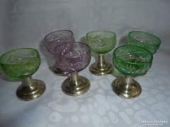 Ezüst talpas csiszolt kristály üveg pohár készlet
