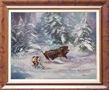 --Hajtás c. Vaddisznós festmény Nagyon igényes