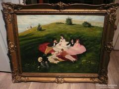 A Majális antik reprodukciója olaj-vászon festmény 96*78 cm
