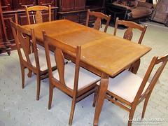 Nyitható étkező asztal + 6db szék