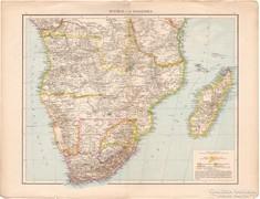 Közép- és Dél - Afrika, Fokföld, Kelet - Afrika térkép 1887
