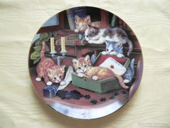 Porcelán cicás falitányér