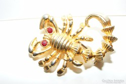 Kristály szemű skorpió bross.