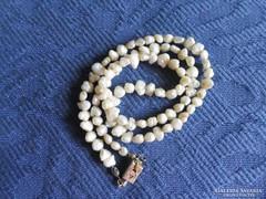 Régi tenyésztett gyöngy nyaklánc, nyakék, gyöngysor, 45 cm
