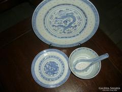 4 db Kínai rizsszem mintás tányér kanál szett porcelán